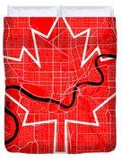 Edmonton Street Map - Edmonton Canada Road Map Art On Canada Flag Symbols Duvet Cover