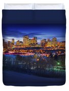 Edmonton Winter Skyline Duvet Cover