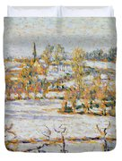 Effect Of Snow At Eragny Duvet Cover by Camille Pissarro