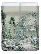 Effect Of Snow With Cows At Montfoucault Duvet Cover