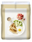 Egg Salad Toast Fruit And Coffee Breakfast Set Duvet Cover