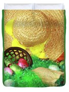 Eggs And A Bonnet For Easter Duvet Cover