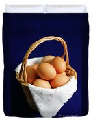 Eggs In A Wicker Basket. Duvet Cover