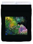 Eglantine With Flowers Duvet Cover