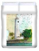 Egmont Key Lighthouse Fl Nautical Map Duvet Cover