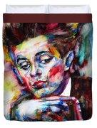 Egon Schiele - Watercolor Portrait.2 Duvet Cover