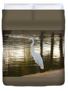 Egret At Waters Edge Duvet Cover