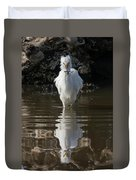 Egret Catches A Stickleback Duvet Cover