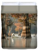 Egret Enjoying Foggy Morning In Atchafalaya Duvet Cover
