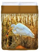 Egret Fishing In Sunset At Forsythe National Wildlife Refuge Duvet Cover