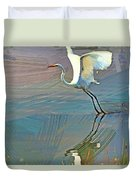 Egret Getting Ready For Take Off Duvet Cover