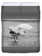 Egret Hunting In Black And White Duvet Cover