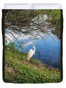 Egret In Florida Color Duvet Cover