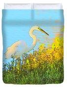Egret In The Lake Shallows Duvet Cover