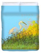 Egret In The Lake Shallows Duvet Cover