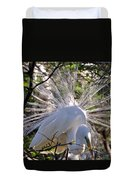 Egret In The Thicket Duvet Cover