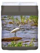 Egret On A Rock Duvet Cover