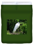 Egret On Guard Duvet Cover