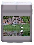 Egret On The Danvers River Duvet Cover