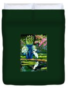 Egret Visits Goldfish Pond Duvet Cover