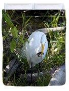 Egret With Crayfish Duvet Cover