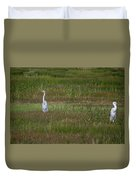 Egrets In A Field Duvet Cover