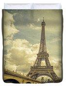 Eiffel Tower And Pont D'lena Vintage Duvet Cover