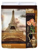 Eiffel Tower And Roses Duvet Cover