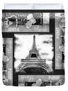 Eiffel Tower In Black And White Design I Duvet Cover