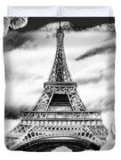 Eiffel Tower In Black And White Design IIi Duvet Cover