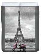 Eiffel Tower In The Rain With Pink Scooter Of Paris. Black And W Duvet Cover