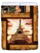 Eiffel Tower Roses Dance Duvet Cover