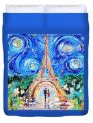 Eiffel Tower Starry Night Romance Duvet Cover