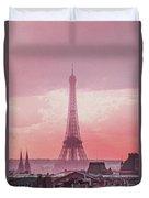 Eiffel Tower Sunset Art Duvet Cover