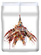 Eiffel Tower Watercolor Duvet Cover