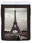 Eiffel Tower With Bridge In Sepia Duvet Cover