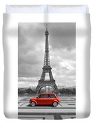 Eiffel Tower With Car. Black And White Photo With Red Element. Duvet Cover