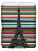 Eiffel Tower With Lines Duvet Cover
