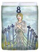 Eight Of Swords Illustrated Duvet Cover