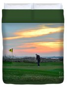 Eighteenth Green At Sunset Duvet Cover