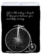 Einstein's Bicycle Quote - White Duvet Cover
