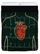 Ekg And Heart Over Torso Duvet Cover