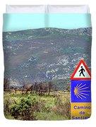 El Camino De Santiago De Compostela, Spain, Sign Duvet Cover