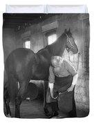 Elderly Blacksmith Shoeing Horse Duvet Cover