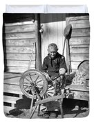 Elderly Woman Spinning Wool, C.1920s Duvet Cover