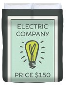 Electric Company Vintage Monopoly Board Game Theme Card Duvet Cover