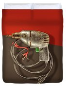 Electric Drill Motor, Green Trigger On Colored Paper Duvet Cover