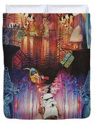 Electric Forest-people Building Houses In The Trees Duvet Cover