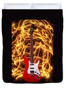 Electric Guitar With Sparks Duvet Cover