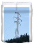 Electric Pylon On Blue Sky Duvet Cover